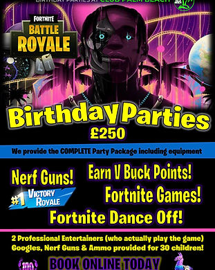 Fortnite Battle Royale Birthday Party Packages at Palm Beach Wellingborough