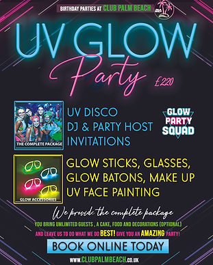 UV Glow Birthday Party Packages at Palm Beach Wellingborough