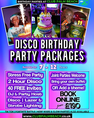 Disco Birthday Party Packages at Palm Beach Wellingborough