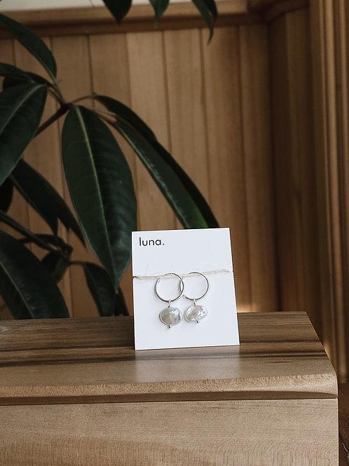 keshi pearl hoops - sterling silver