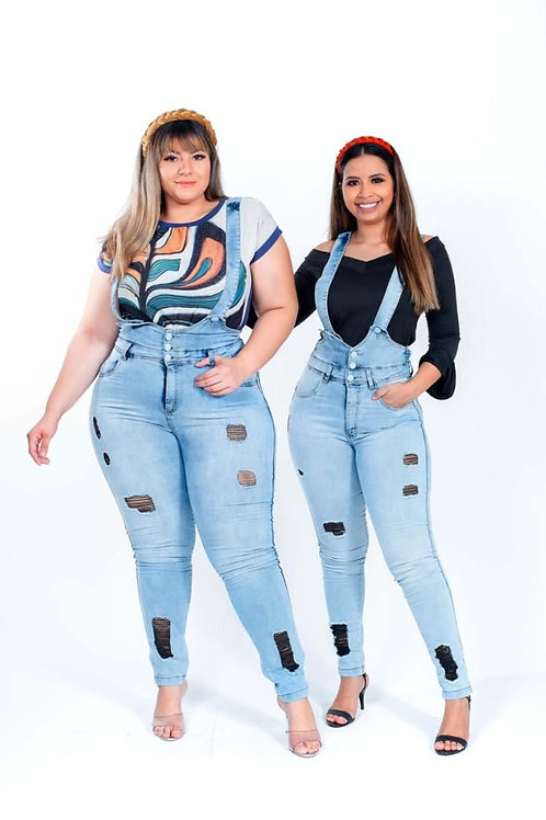 Jardineira Jeans C/Puídos Plus