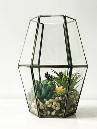 Large Burnished Brass Geometric Terrarium