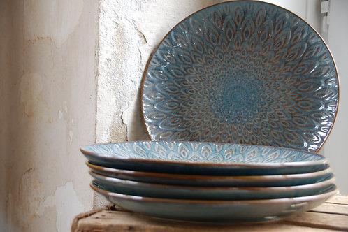 Teller mit Muster / Grün-Blau-Türkis