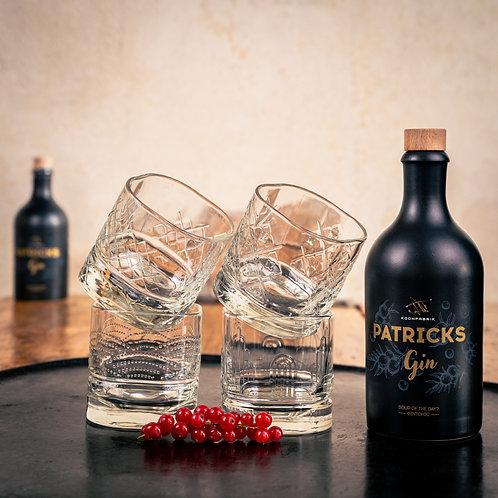Geschenkset: PATRICKS GIN mit DANDY Gläserset von La Rochére