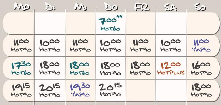 Kursplan Hot Yoga Köln - gültig ab 08.05.16