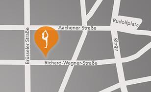 Kartenansicht von unserem Hot Yogastudio zwischen Rudolfplatz und Belgischem Viertel