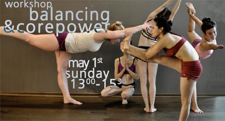 Banner für den balancing & corepower workshop bei Hot Yoga Köln - Yoga39°