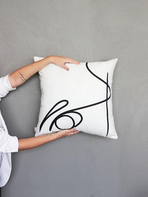 Capa almofada rabisco em branco