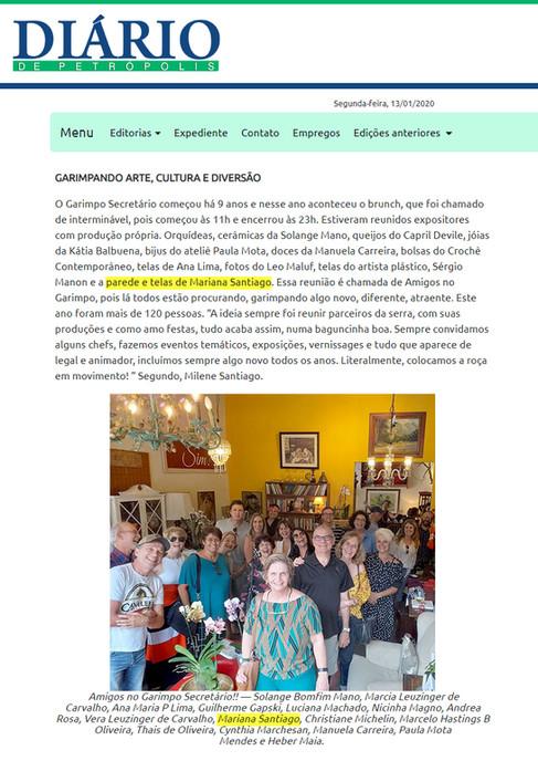 Matéria no jornal Diário de Petrópolis sobre feira de expositores, Itaipava, RJ | 2019