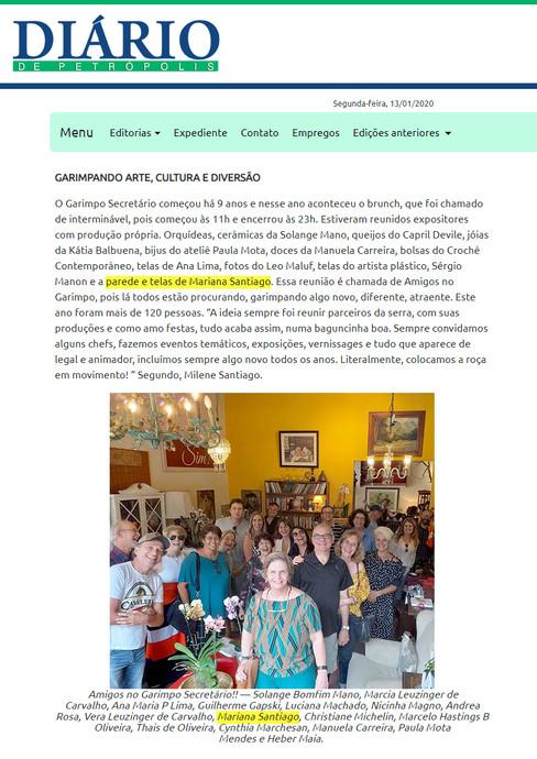 Matéria no jornal Diário de Petrópolis sobre feira de expositores, Itaipava, RJ   2019