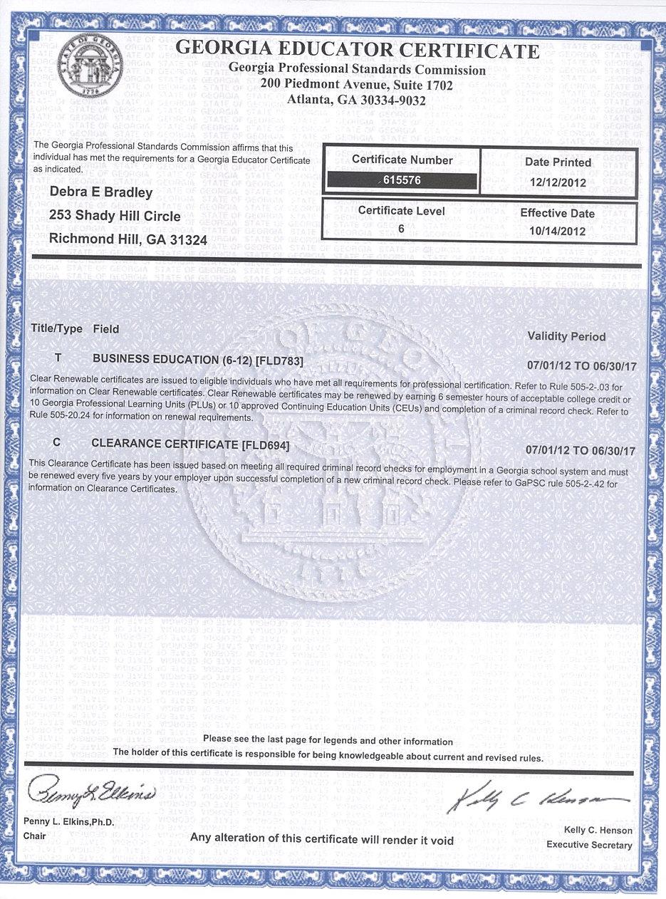 South effingham high school teaching certificateverification mrs bradleys teachers certificate xflitez Gallery