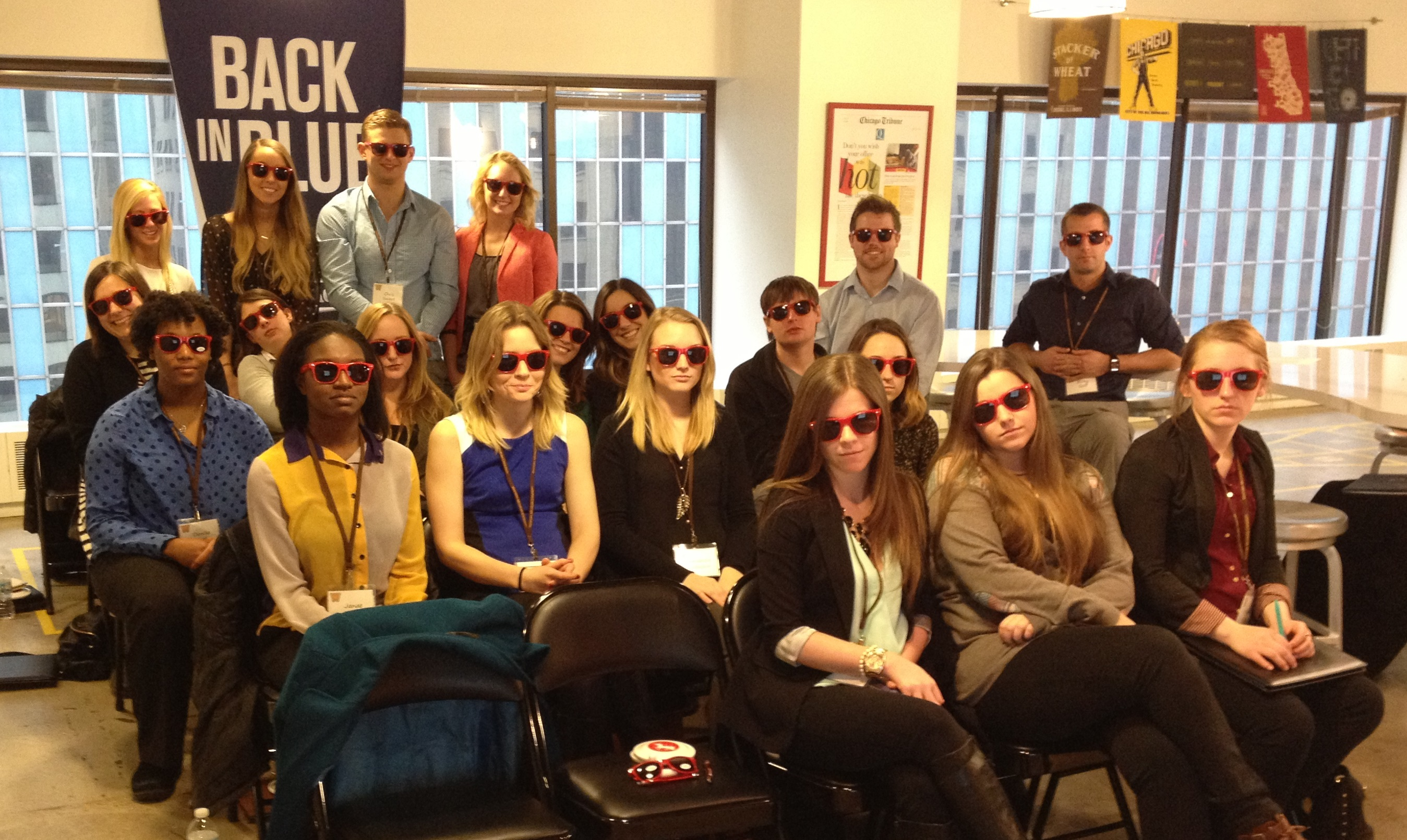 Students at Digitas with sunglasses