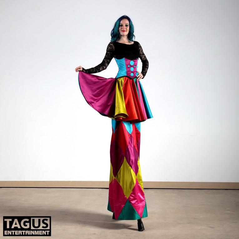 Colorful Circus Stilt Walker
