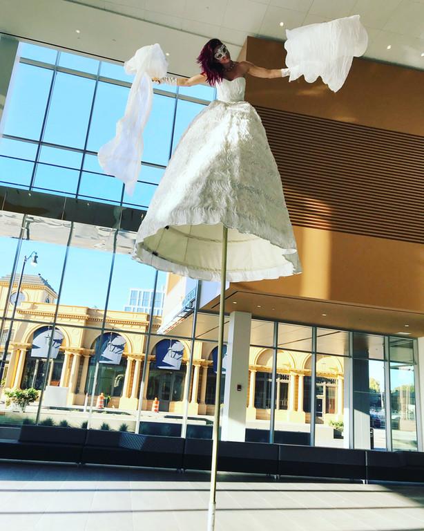 Sway Pole or Stilt Walker White Dress