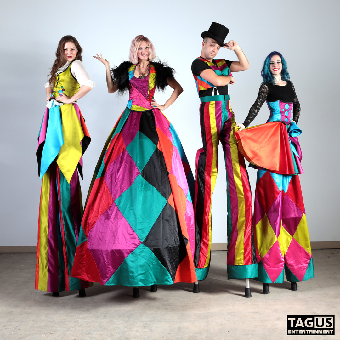 Colorful Circus Stiltwalkers