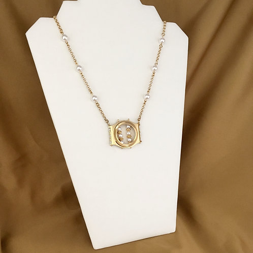 Gold watch rim necklace with crystal pearls