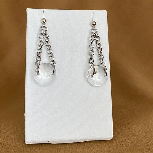 Silver prism rolo chain drop earrings