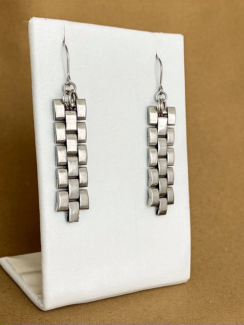 Silver stepped link watch band earrings