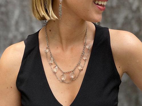 Silver prism collar necklace