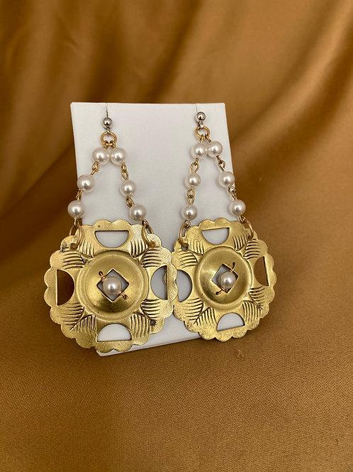 Brass hardware earrings