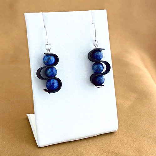 Lapis swagged earrings