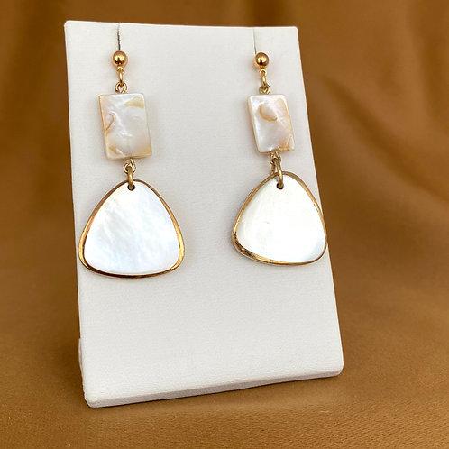 Triangle mother of pearl cufflink earrings