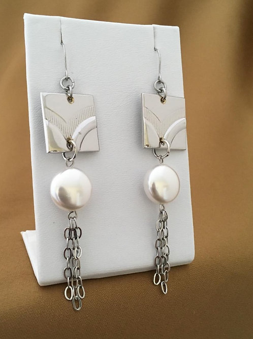 Etched cufflink earrings with crystal pearl