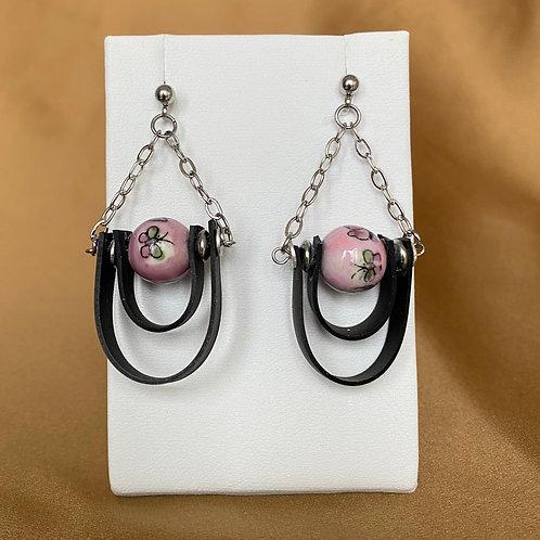 Pink porcelain bead loop earrings