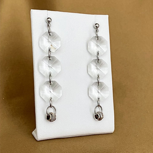 Glass prism earrings with silver etched accents