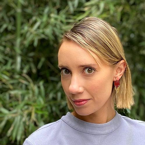 Burgundy watch face earrings