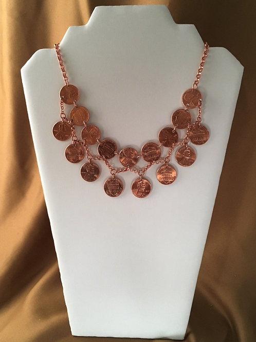 Two strand penny necklace.