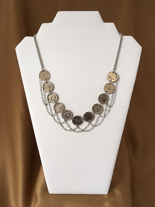 Dime necklace with open loop swag.