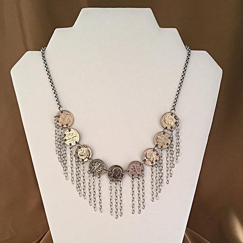 Dime fringed necklace.