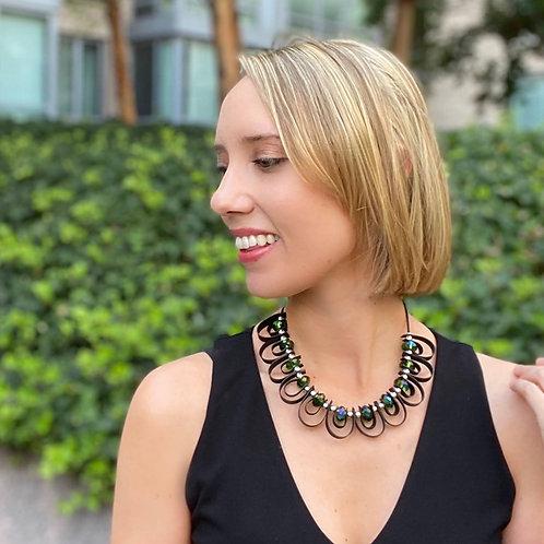 Shimmering crystal loop necklace