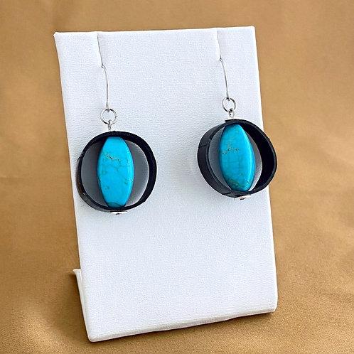 Turquoise magnesite inner tube earrings