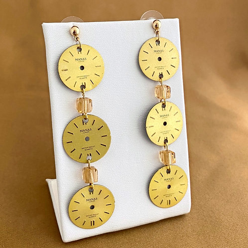 Gold watch face column earrings