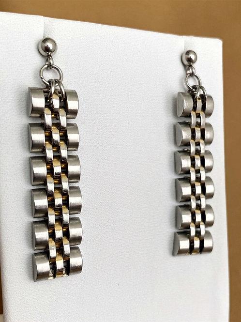 Brushed metal watch band earrings
