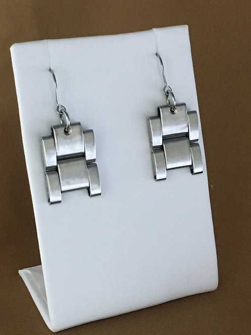 Two link watchband earrings.