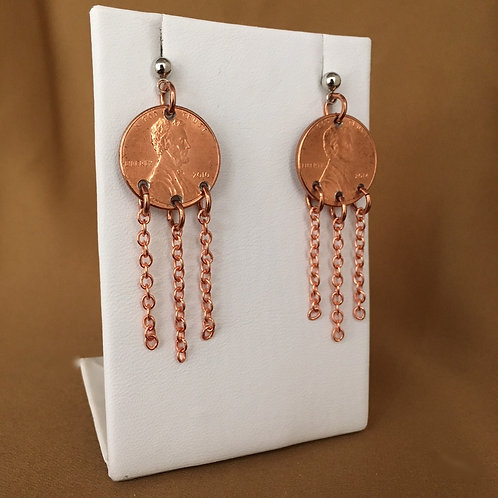 Penny fringe earrings.