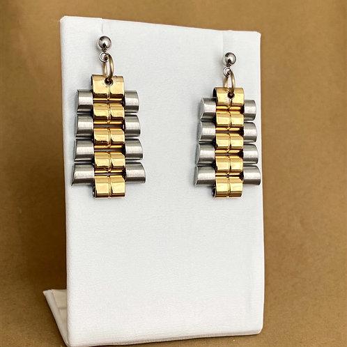 Two tone watch band earrings