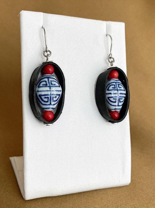 Porcelain and glass bead inner tube circle earrings