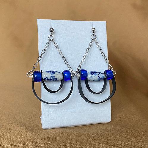 Blue porcelain bead loop earrings