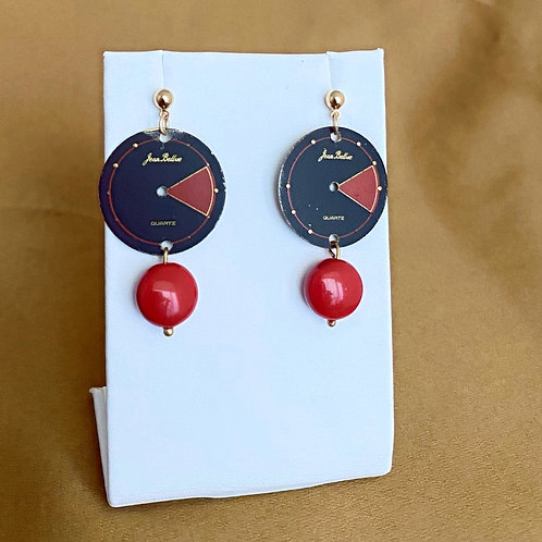 Black and red watch face earrings