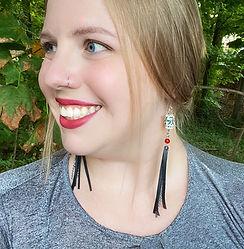 Tess with porcelain bead fringe earrings