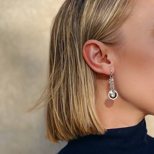 Onyx and crystal cufflink earrings