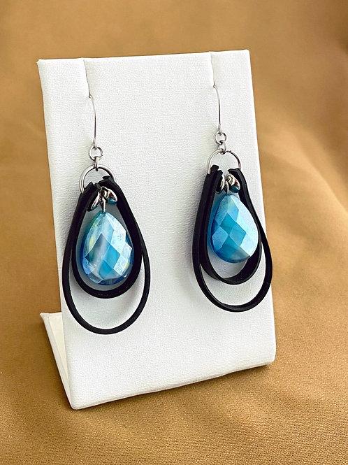Faceted glass teardrop inner tube earrings