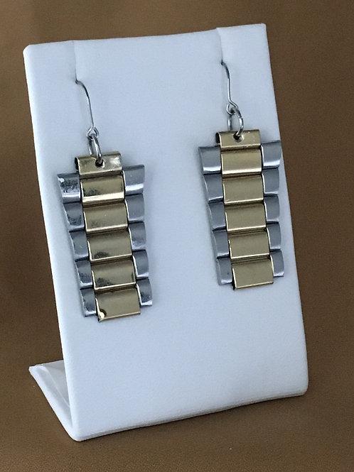 Two tone watchband earrings.