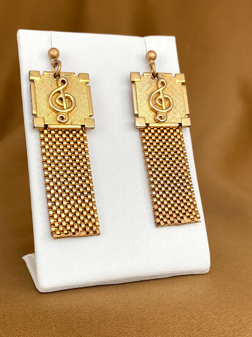 Music clef mesh cufflink earrings