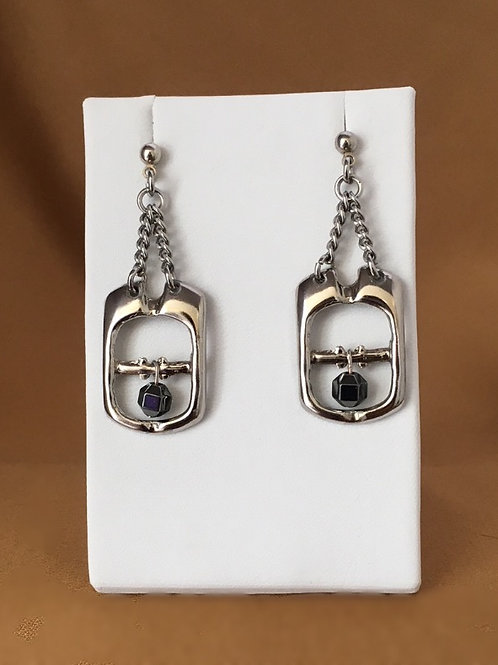 Small buckle earrings with hematite beads.