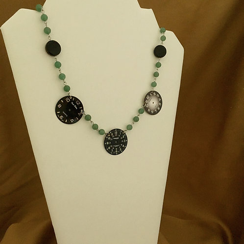 Watchface necklace with green aventurine.
